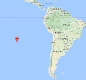 赤いポイント部分がイースター島